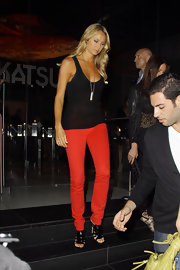 "Stacy stepped out in Hollywood wearing a pair of ""912"" low-rise pencil leg jeans in bright red."