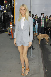 Gwyneth Paltrow looked sleek and contemporary in this pin-stripe blazer and matching shorts.