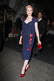 Evan Rachel Wood wore a navy dress with a contrasting red tulip print while out to dinner.