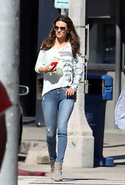 Alessandra Ambrosio chose a casual pair of ripped jeans for her daytime look while out in LA.