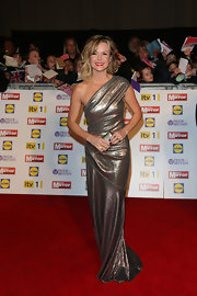 All eyes were on Amanda Holden in a shimmering metallic one-shoulder gown at the Pride of Britain Awards.