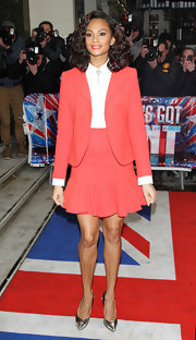 Alesha Dixon finished off her ensemble in fierce style with pointy silver cap-toe pumps.