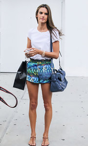 Alessandra Ambrosio chose these aquatic-print, silk shorty shorts for her casual yet classy look while out in NYC.