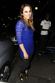 Mel C's gold Alexander McQueen peep-toe ankle boots were an ultra-chic finish to her clubbing ensemble.