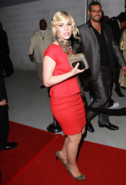 Natasha Bedingfield attended a Grammy after party wearing a pair of khaki pumps with metallic accents.