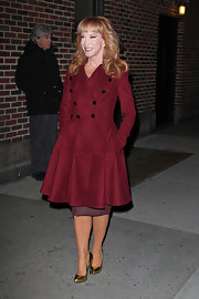 Kathy Griffin was a winter classic in this maroon buttoned coat with a fit-and-flare body.