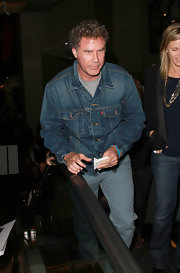 Will Ferrell opted for a classically casual look in a denim jacket.