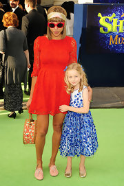 Ana Araujo looked very girly in her red lace dress at the 'Shrek the Musical' press night.