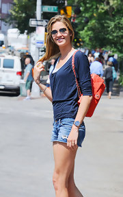 Ana Beatriz Barros glammed up her casual outfit with a quilted coral Chanel bag while out and about in Greenwich Village.