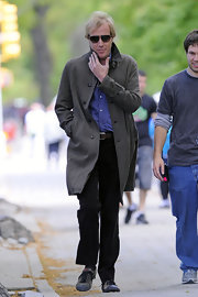Rhys covered up in a gray wool coat on the set of 'The Amazing Spiderman.'