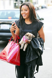 Angela Simmons left a nail salon in Beverly Hills with perfectly polished nails featuring pretty cherry red lacquer.