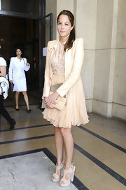 Anouchka Delon looked dreamy in cream suede platform T-bar sandals at the Elie Saab Couture show.