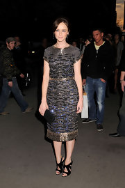 Alexis Bledel teamed her stunning Oscar de la Renta dress with black patent Giuseppe Zanotti E10287 sandals.