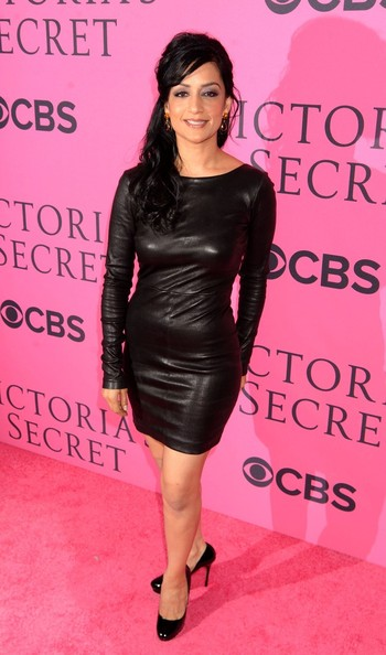 Archie Panjabi Leather Dress