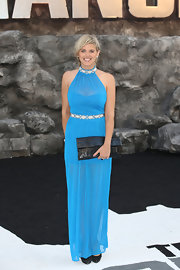 Ashley James' column-style sky blue gown gave the star a Grecian look at the premiere of 'The Lone Ranger.'