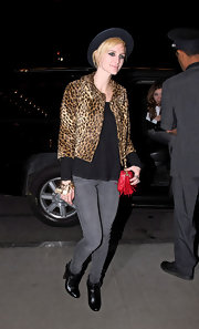Ashlee Simpson wore a pair of 'Twiggy' leggings in slate while leaving her hotel in Midtown, New York.