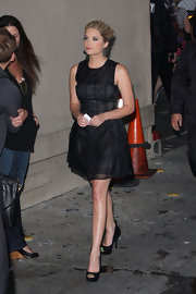 Ashley Benson opted for a monochromatic for her appearance on 'Jimmy Kimmel Live' in a sheer black dress teamed with black leather peep-toes. The dark heels showcased her playful turquoise pedicure!