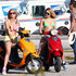 "Actresses Vanessa Hudgens, Selena Gomez, Ashley Benson and Rachel Korine film in bikinis on Vespa scooters while filming ""Springbreakers"" in Florida."