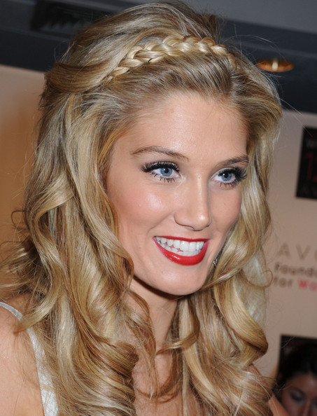Delta Goodrem accented her gorgeous cascading curls with a braided band for the Global Voices for Change Awards gala.