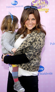 Tiffani Thiessen's cropped leopard-print jacket at the 'Sofia the First' premiere had a stylish retro feel.