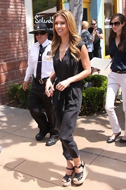 Audrina Patridge was spotted at The Grove in a pair of black strappy wedge sandals.