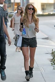 Audrina brought some serious edge to her sunny style with a ready-to-rumble pair of leather shorts.
