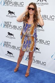 Audrina Patridge wore this colorful tiered dress to celebrate her birthday at Wet Republic.