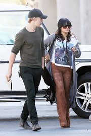 Vanessa Hudgens undoubtedly turned heads in Hollywood in a pair of sheer brown lace flares.
