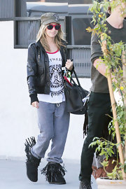 Ashley Tisdale rocked a pair of playful fringed suede boots in Hollywood.