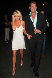 Hayley Roberts looked seductive in a lingerie-inspired white mini dress at David Hasselhoff's 60th birthday celebration.