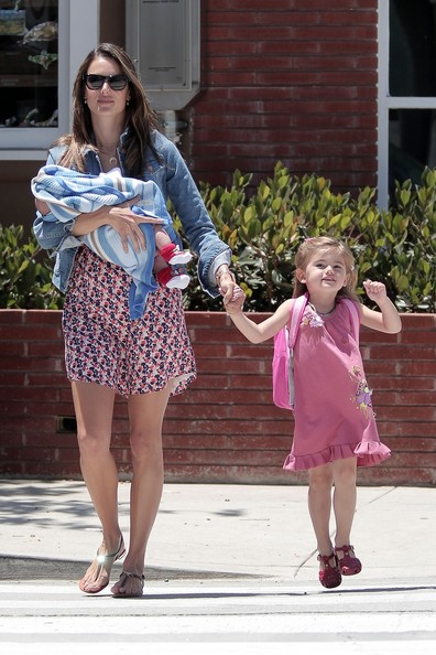 Alessandra Ambrosio Picks Up Anja From School