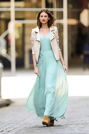 A sea foam green maxi gave Behati Prinsloo a soft feminine look while on set in NYC.