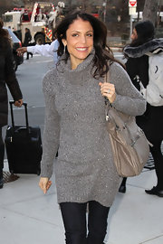 Bethenny Frankel wore her straight tresses casually windblown while heading to an appearance on 'Good Morning America.'