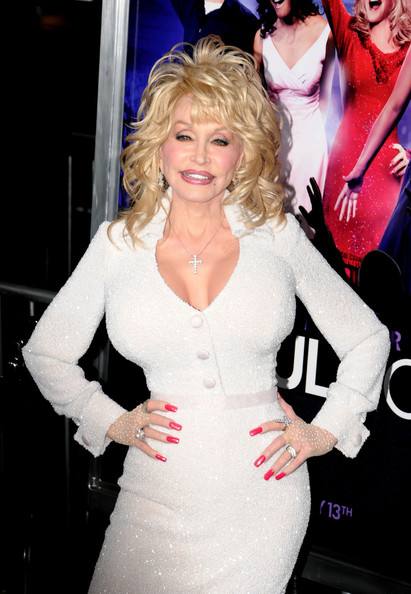 More Pics of Dolly Parton Medium Curls with Bangs (1 of 4) - Dolly Parton Lookbook - StyleBistro