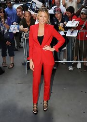 Blake Lively killed it at on 'Good Morning America' in this red pantsuit.