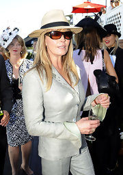 Bo Derek topped off her ensemble at the David Jones Derby Horse Race with a pair of rectangular sunnies.