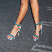 Brandy was all about the color from head to toe, especially with these blue platform sandals.