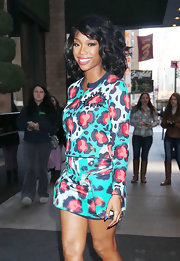 Brandy opted for this fun and funky leopard print cardigan and matching skirt while out in NYC.