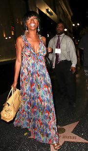 Brandy opted for a colorful maxi dress while out at dinner at Katsuya.