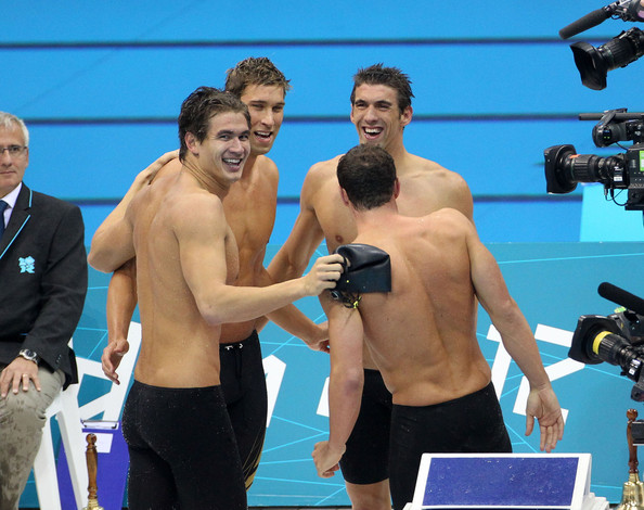 American swimming legend Michael Phelps seen competing in his last Olympic swim and leading the 4x100m medley team to gold at the Aquatics Centre, London 2012 Olympic Games