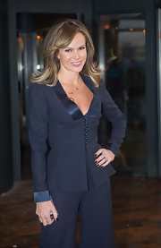 Amanda Holden wore her nails short with dark red polish at an audition stop in Glasgow for 'Britain's Got Talent.'