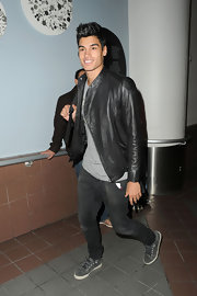Siva Kaneswaran's leather jacket slicked up his jeans and tee pairing.