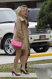 Jamie Lynn Spears wore sophisticated brown pointed toe pumps to attend church.