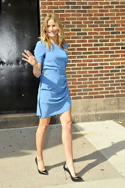 Cameron Diaz has been making the talk show rounds promoting her latest movie, Bad Teacher. The glowing actress made an appearance on the Late Show with David Letterman wearing a sky blue belted day dress and ultra-sexy black stilettos.