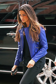 Camila Alves sported a cool purple motorcycle jacket while taking a walk in NYC.