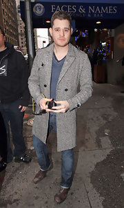 Michael Buble fought off the chill in a textured wool coat.