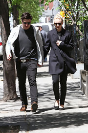 Marcus Mumford paired a casual gray hoodie over a tee and jeans while out with his wife, Carey Mulligan.