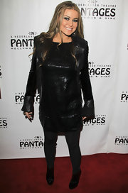 Carmen Electra paired her sleek black 'Rock of Ages' premiere look with black patent ankle boots.