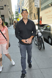 Carson wore classic jeans with his button down while out in NYC.