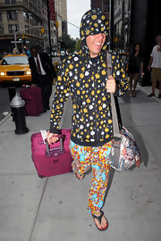 Perez Hilton looked just like a little boy, wearing his 'Iron Man' pajama bottoms out in NYC.